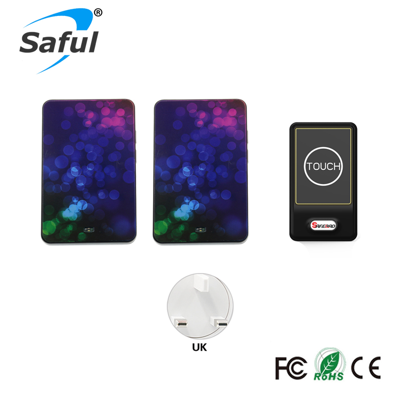 Saful Plug-in Wireless Door Bell Waterproof UK Plug touch button 36 Chimes 1 Outdoor Transmitter + 2 Indoor Receiver wireless service call bell system popular in restaurant ce passed 433 92mhz full equipment watch pager 1 watch 7 call button