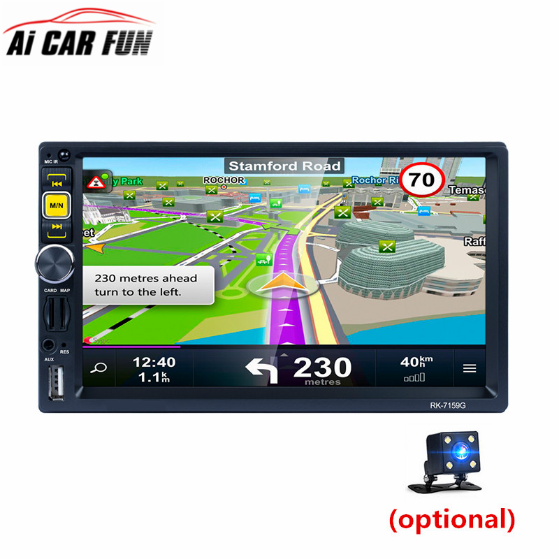 7159G 7 Full HD 1080P Car MP5 Player GPS Navigator Bluetooth AM/FM/RDS Radio Mirror Link Remote Control Car Multimedia Player rk 7157b 7inch 2din car mp5 rear view camera fm am rds radio tuner bluetooth media player steering wheel control