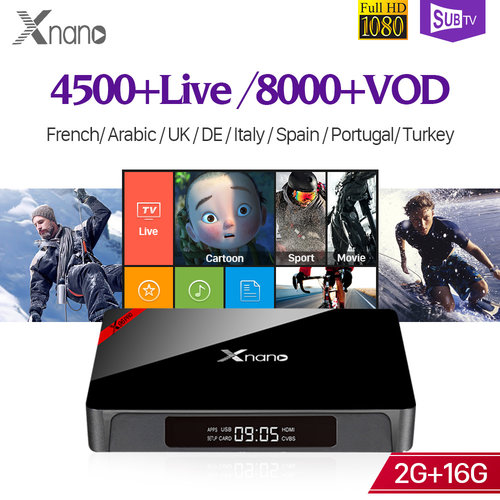 Full HD IP TV 4K Box Subscription XNANO Android S905X Support BT 2G 16G Arabic France Italy Turkey IP TV Channels Receiver Box  Full HD IP TV 4K Box Subscription XNANO Android S905X Support BT 2G 16G Arabic France Italy Turkey IP TV Channels Receiver Box