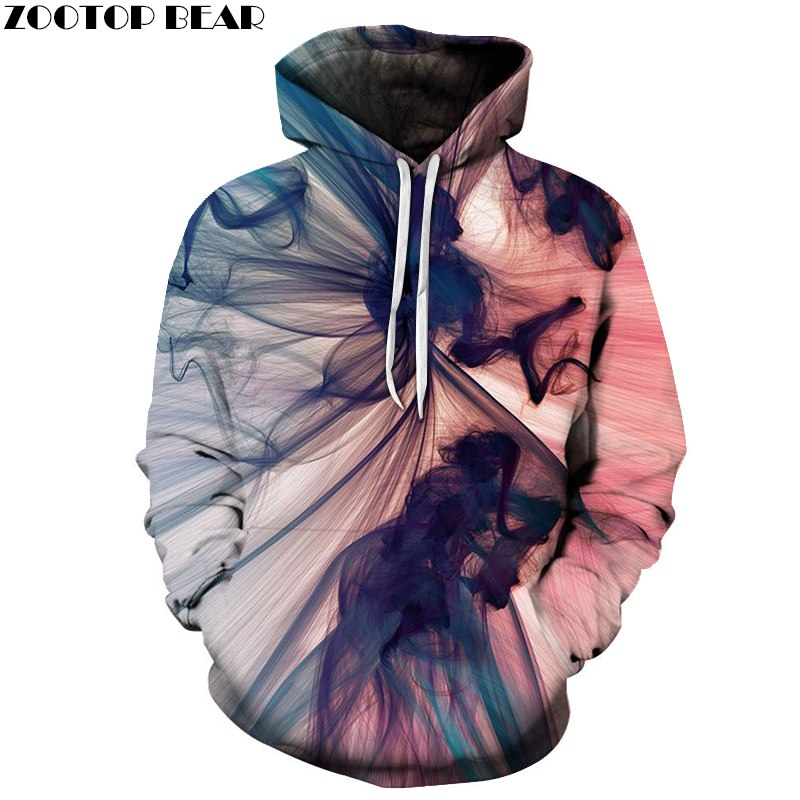 Mr.1991inc New 2018 3d Hooded Sweatshirt Half Orc Smokes Men/women Space Galaxy Pullover Fashion Funny Hoodies Sweatshirts Pretty And Colorful Men's Clothing