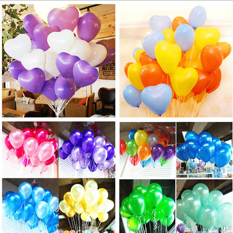 5pc Black Blue 10inch 1.8g Heart Latex Balloon Air Balls Inflatable Wedding Balloons Children Birthday Party Decoration Balloons