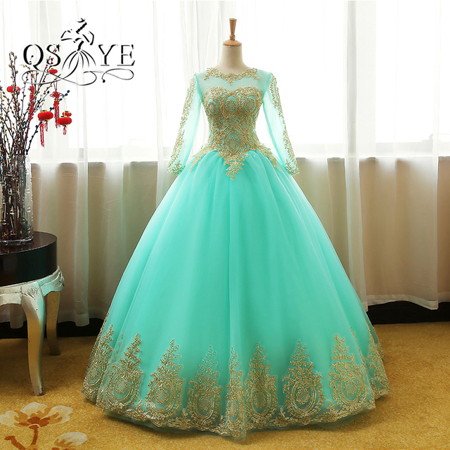 2017 New Arrival Mint Green Ball Gown Prom Dresses 2018 Robe de ...