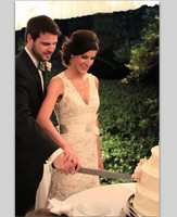 Lace Long Sheath Wedding Dress V Neck Open Back Elegant Country Bridal Gowns Robe De Mariage