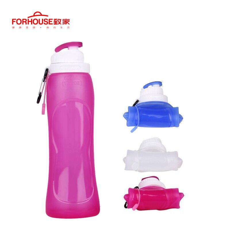 500 ml botella de agua plegable de silicona hervidor BPA libre deporte al aire libre viajes correr senderismo plegable creativo beber botella