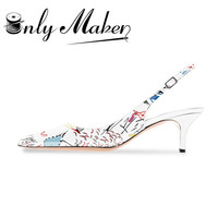 Onlymaker Women's Pointed Toe Slingback Sandals Ankle Strap Kitten Heels Pumps Evening Party Wedding Graffiti Shoes 6.5CM