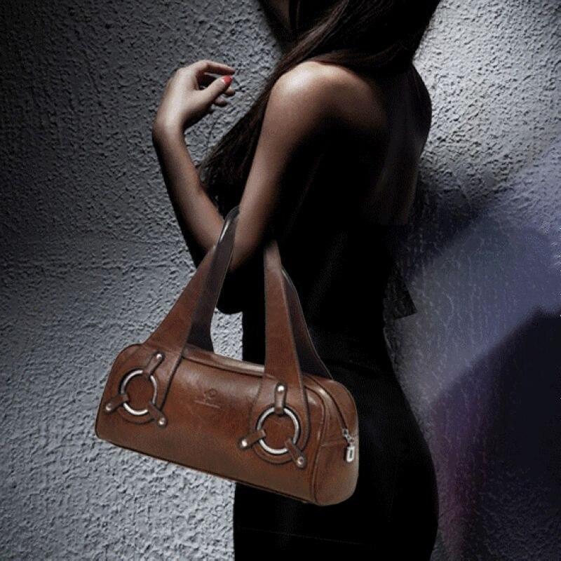 Vrouwen lederen Handtas Tas Mode Retro Kussen Tas Designer Boston Tote Bag dames schoudertas Kwaliteit Gegarandeerd 11301-in Top-Handle tassen van Bagage & Tassen op  Groep 2