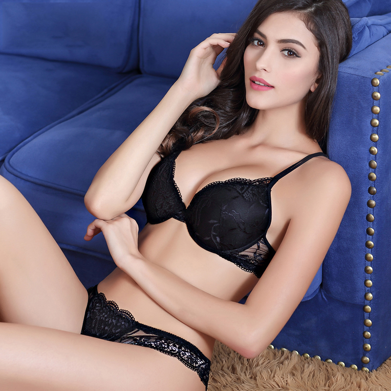 7dade052e68 Shitagi Woman Sexy Lingerie Lace Bra Gather Adjustable Intimate Push Up  Young Bra And Panty Sets