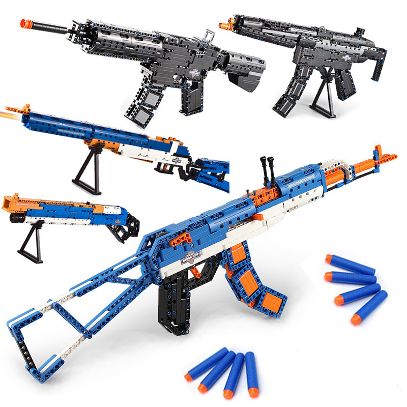 SWAT Compatible big ak guns ww2 kits military nerf Submachine 98k model bricks weapon set building