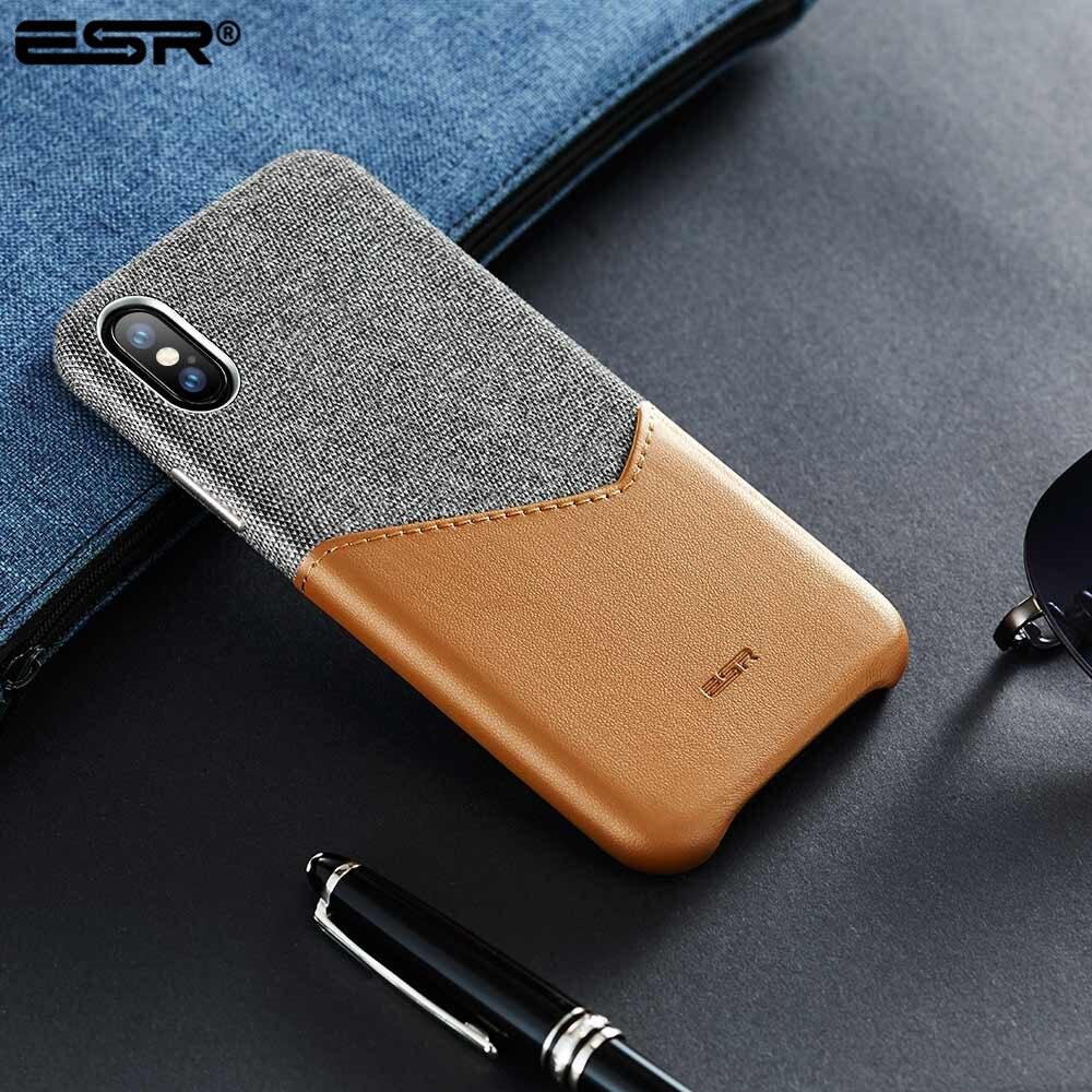 ESR Fall für iPhone X XS XR XS Max Abdeckung Hohe Grade Leder mit Weichem Stoff Dünne Licht Karte Slot stoßfest Fall für iPhone X