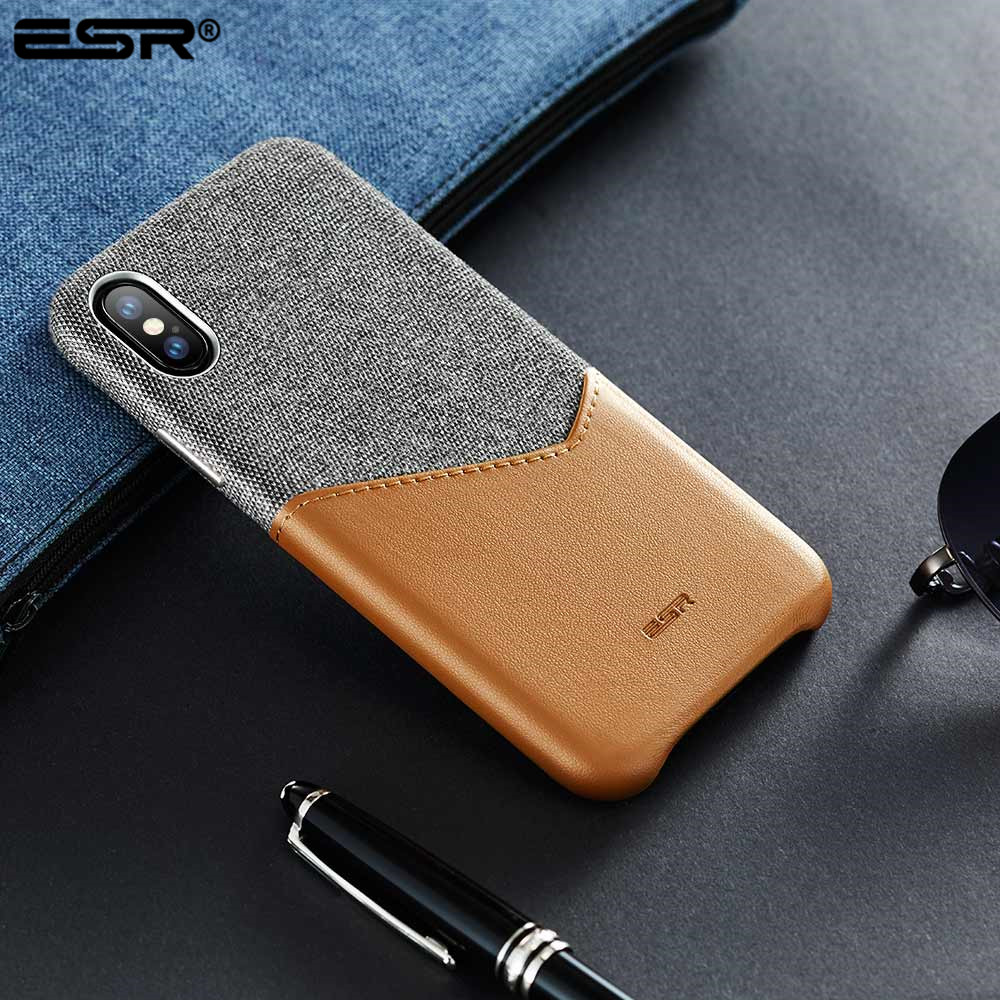 ESR Case for iPhone X XS XR XS Max Cover High Grade Leather with Soft Fabric Thin Light Card Slot Shockproof Case for iPhone X