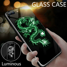 Luminous Glass Case For iPhone 6S 7 8  X XS luxury Tempered tpu edge Back Cover 6 Plus XSMAX XR CASE