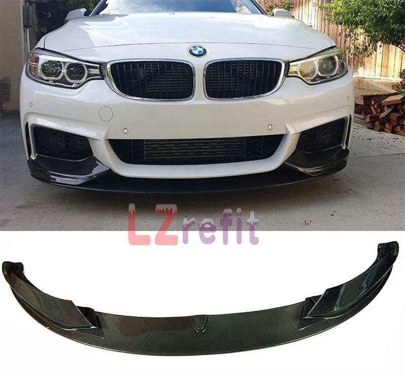 P Style 3K Real Carbon Fiber Front Bumper Lip Spoiler For BMW 4 Series F32 M Sport M Tech Bumper 2Door 4Door 2014UP