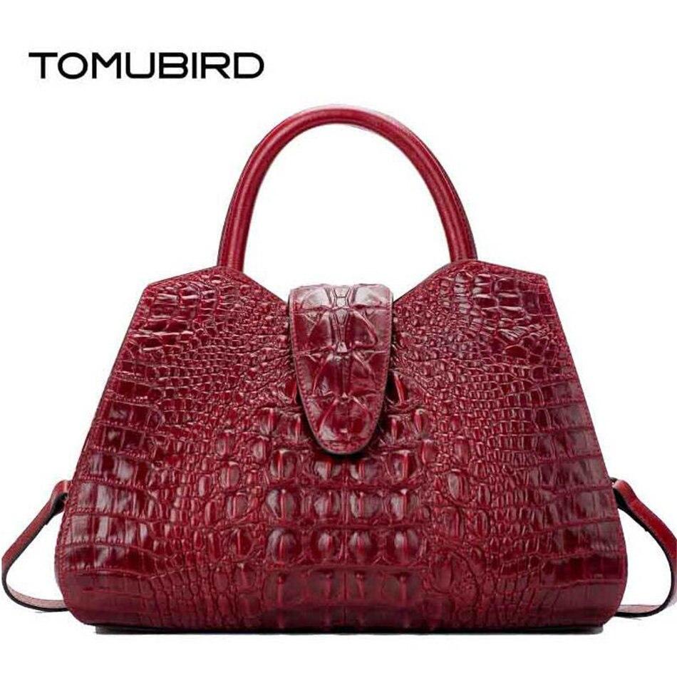 TOMUBIRD Для женщин сумка натуральная кожа сумка с тиснением с узором «крокодиловая кожа» сумки через плечо большая емкость топ ручка сумки