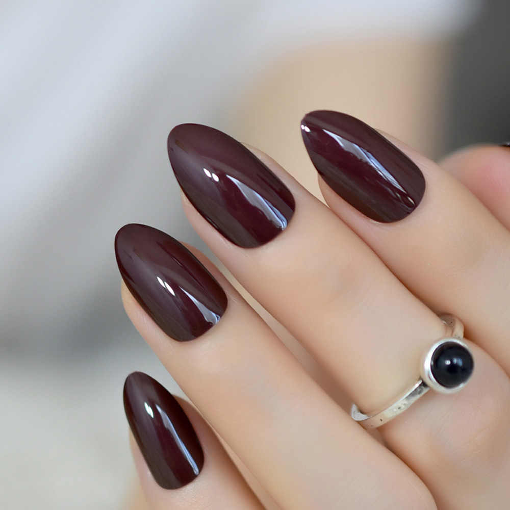 False Nails Short Oval Sharp Solid Dark Brown Fake Nails Stiletto Brownish-black Pointed Pure Color UV Gel Almond Wear Full Tips