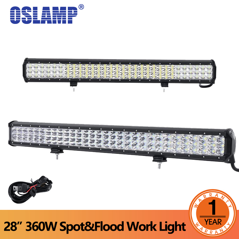 Oslamp 28 inch 360w 6D Tri-Row LED Light Bar Offroad Combo Beam Work Light 12v 24v For 4x4 4WD SUV ATV RZV Trailer Truck LED Bar partol 240w 22 tri row led work light bar offroad led bar spot flood combo beam truck suv atv 4x4 4wd driving lamp 12v 24v