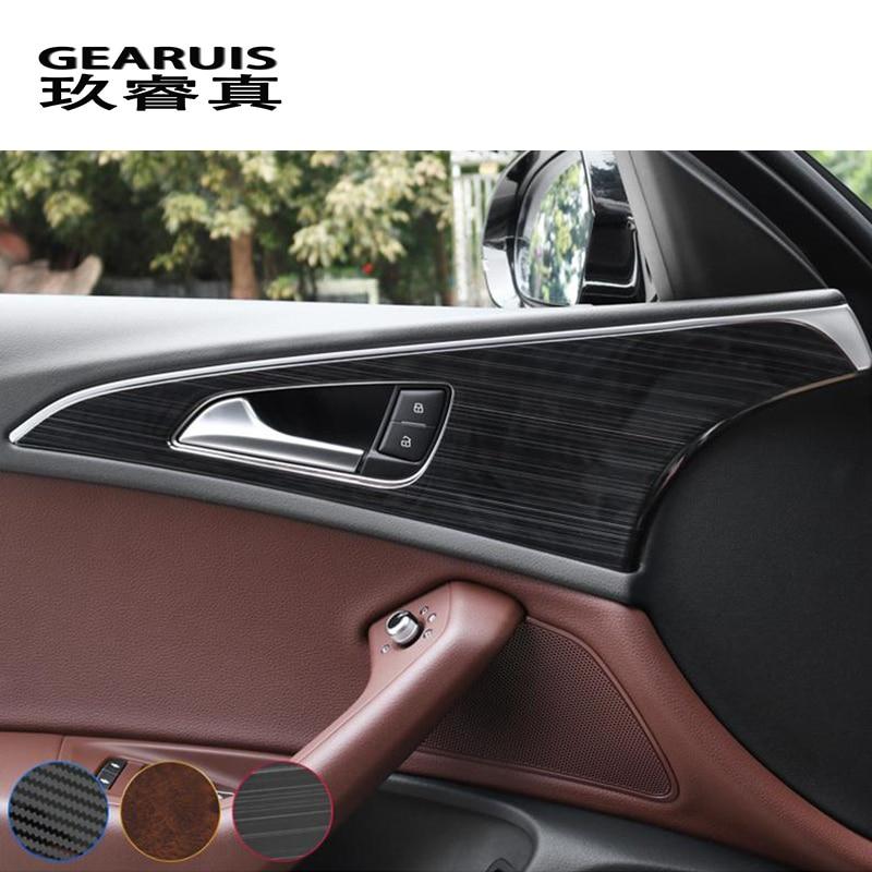 4PCS Carbon Fiber Style Door Lock Protection Cover Trim For Audi A6 C7 2012-2018
