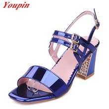 Party Dance Shoes Women 2016 Spring Autumn Buckle Silver High Heel Fish Mouth Party Sandals Women