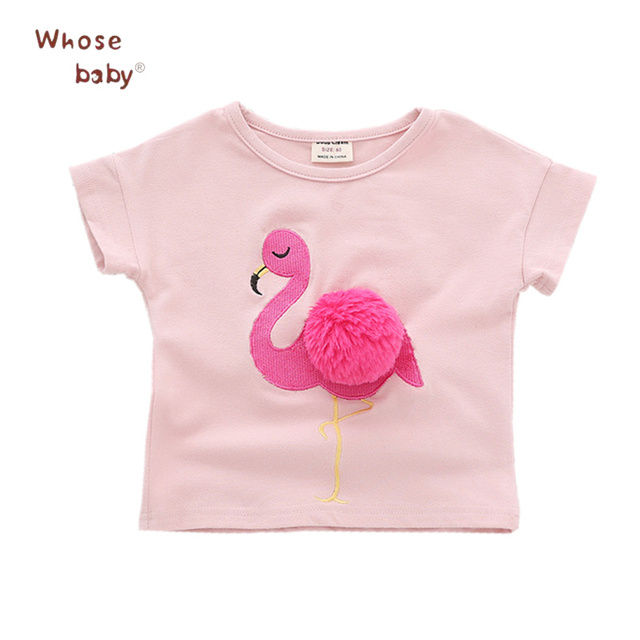 93fe567f Summer 2018 Baby Girls T-shirt Flamingo Embroidery Kids Tops With Ball  Cotton Casual Toddler