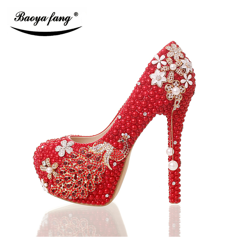 BaoYaFang Red pearl beads Womens wedding shoes High heels fashion woman  party dress shoes Luxury peacock. артикул  32830554735 9046989b8fca