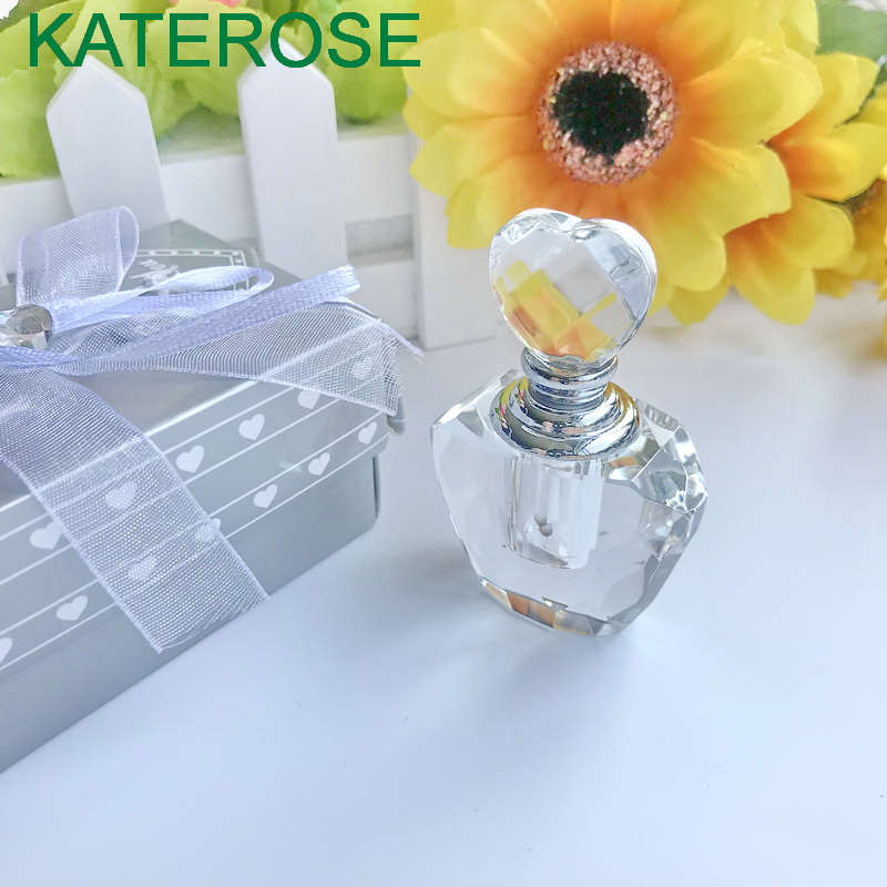 80PCS Heart Crystal Perfume Bottle in Gift Box Wedding Favors Crystal Scent Bottles Bridal Shower Party