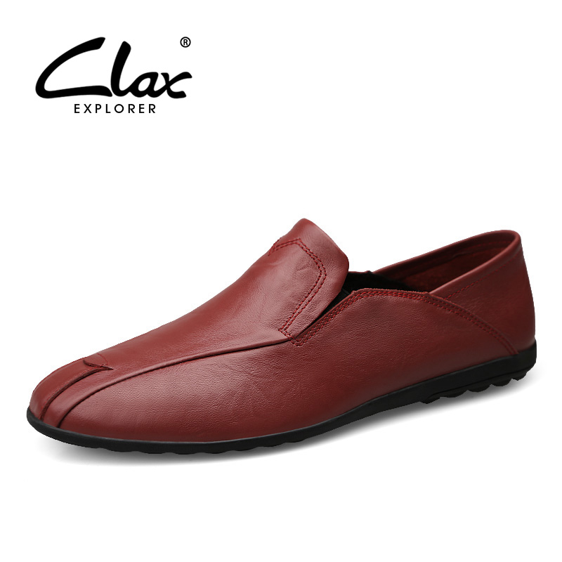 CLAX Men Leather Shoe Slip ons 2018 Spring Summer Man Loafers Genuine Leather Handmade Casual Footwear