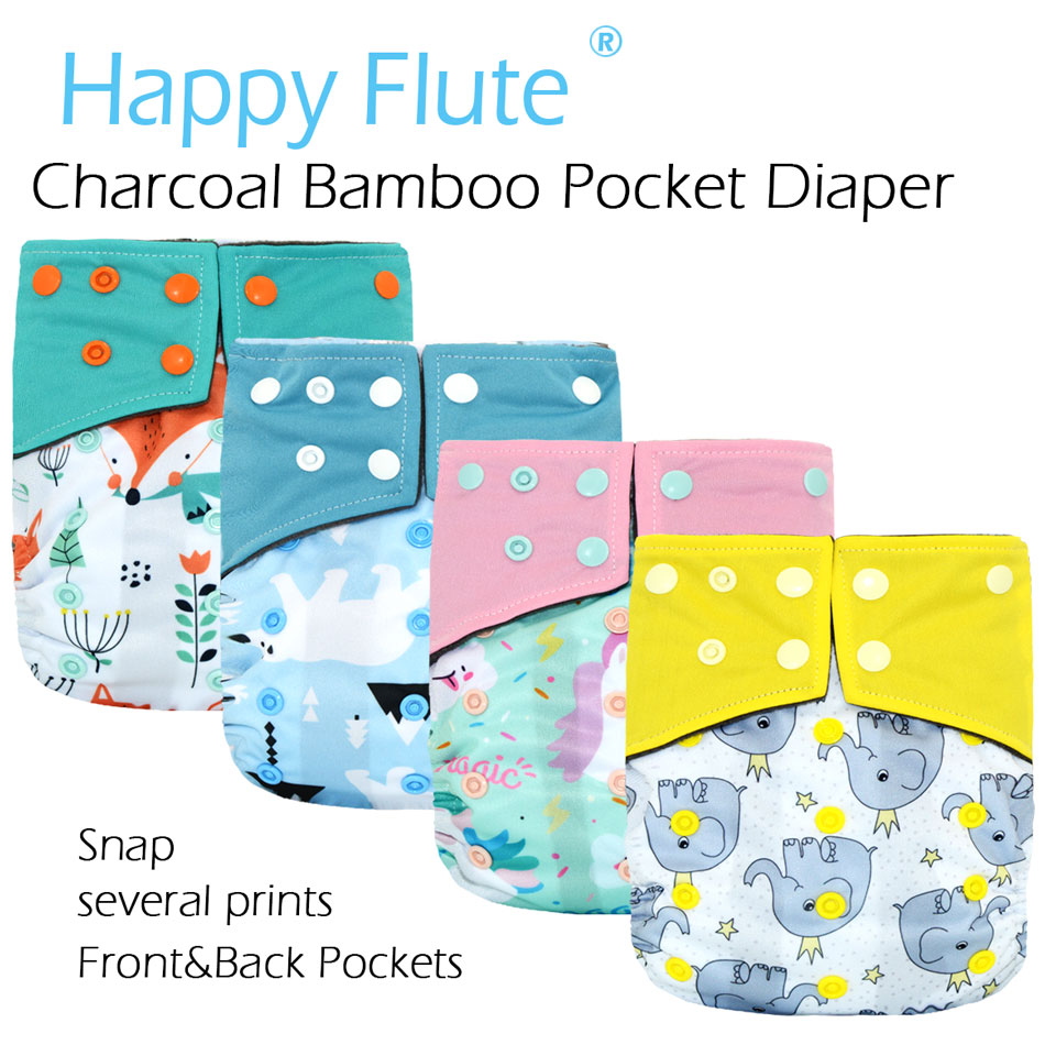 HappyFlute Baby Charcoal Bamboo Waterproof Pocket Diaper, Washable Breathable Reusable Nappy,S M&L Adjustable, Fit 5-15kg Baby