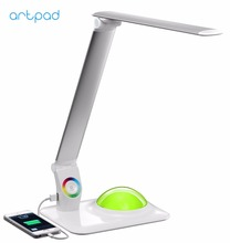 Modern LED Desk Lamp with USB Port for Charging Phone Touch Dimmer LED Foldable Study Work Table Lamp RGB Colorful Base цена