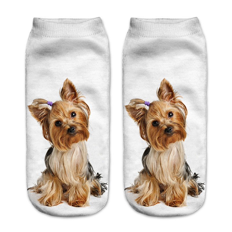 3D Dog Cartoon Funny Woman Printing Invisible Summer Socks Dogs Creative Low Cut Sock Calcetines Mujer Algodon Dropshipping