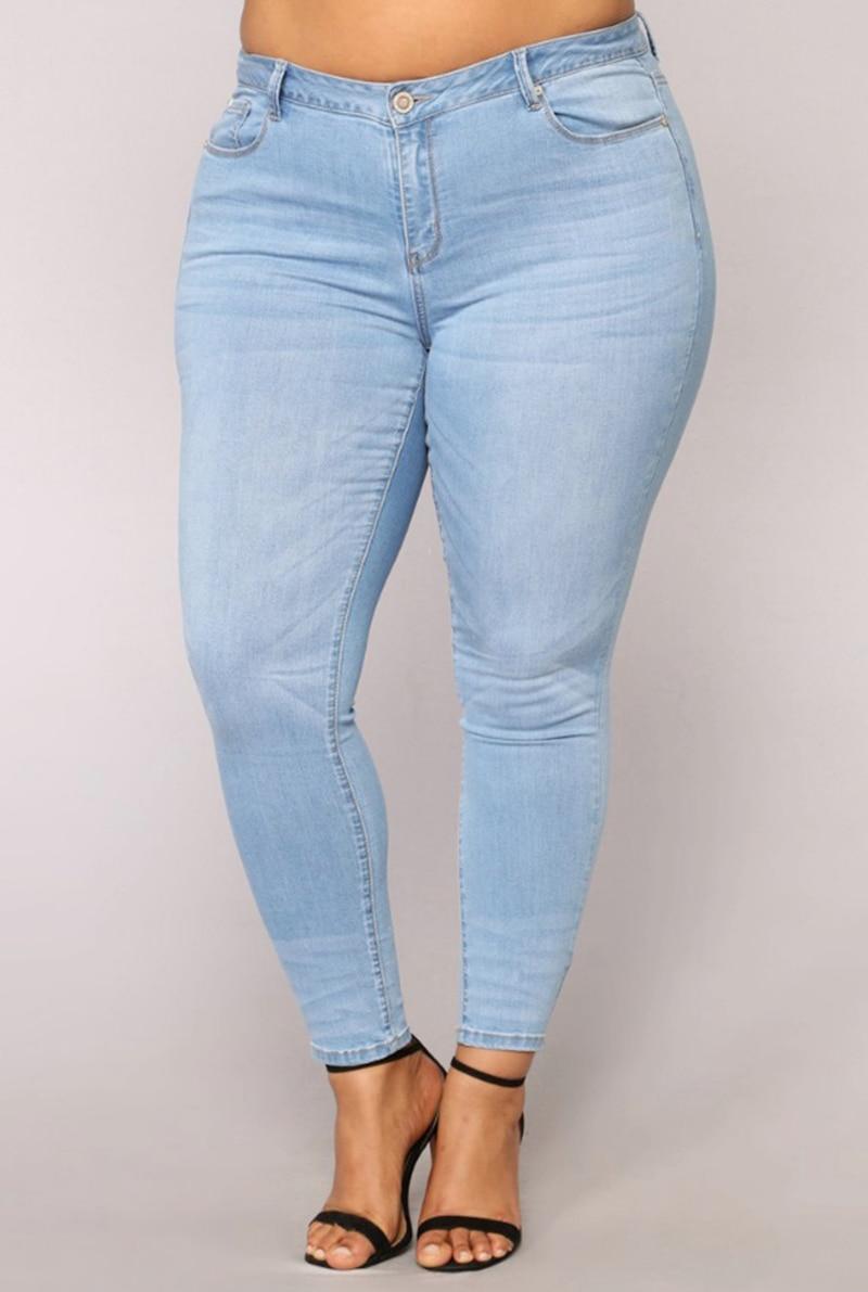3533de362fc7a PLUS SIZE Jeans Women High Waist regular Pencil Blue Denim Pants women  bleached washed Jeans women 3XL 4XL 5XL 6XL 7XL big hip