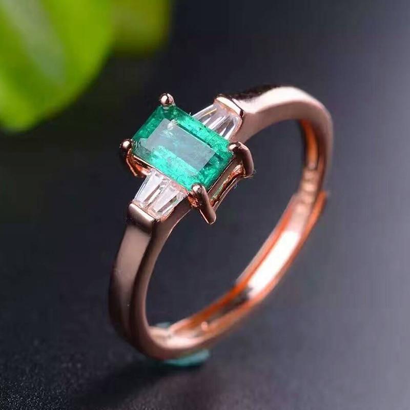 Elegancki pierścionek ze szmaragdem prosta konstrukcja stałe 925 srebro pierścionek ze szmaragdem 4mm * 6mm naturalny szmaragd biżuteria romantyczny walentynki prezent w Pierścionki od Biżuteria i akcesoria na  Grupa 2