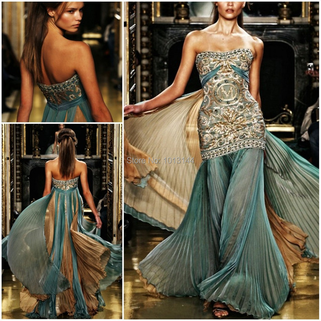 Whole Mermaid Green Gold Beaded Embroidery Chiffon Zuhair Murad Teal And Gown Evening Dress