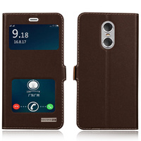 Window Cover Case For Xiaomi Redmi Note 4 Top Quality Natural Genuine Leather Magnet Flip Stand