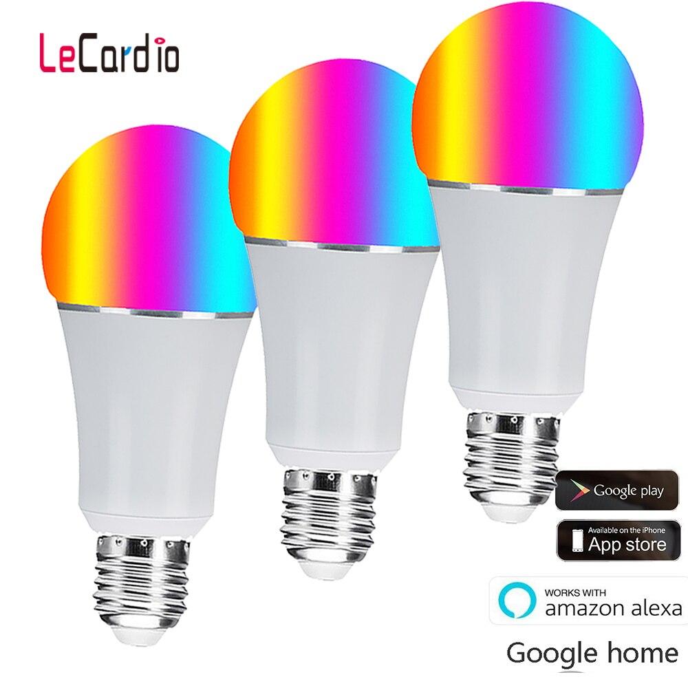 Ampoule Led intelligente Wifi, E27 E26 B22 16 millions de lampe de scène de couleur blanche rvb Compatible avec le contrôle d'application de téléphone domestique Alexa Google