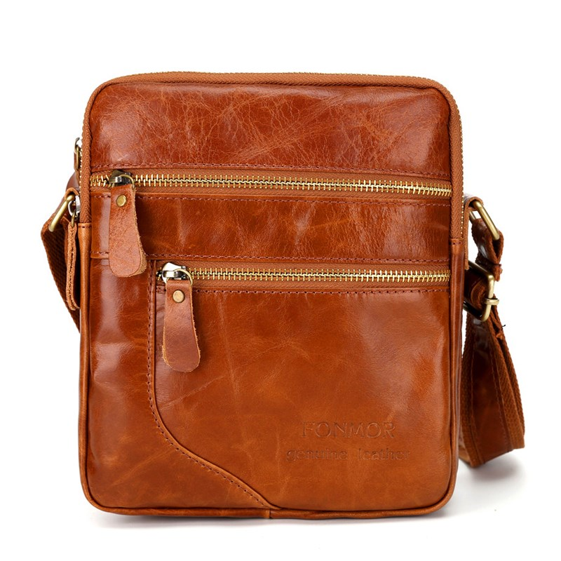 2018 Oil Wax Leather Bag Men Crossbody Bags Vintage Shoulder bag Cowhide Double Zipper Travel Small bags Man