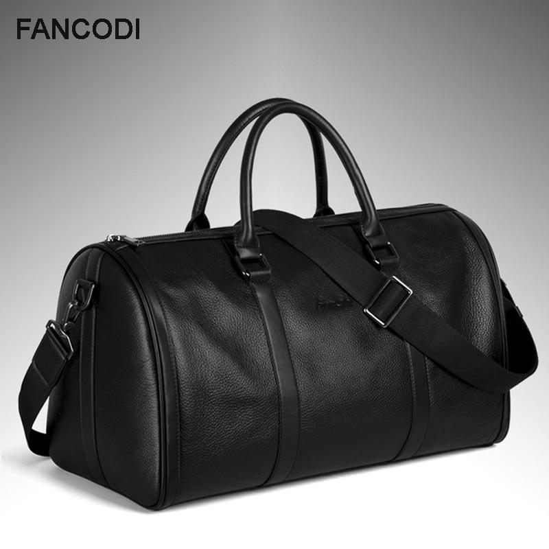 Bagaj ve Çantalar'ten Seyahat Çantaları'de Yeni 2016 Moda Hakiki Deri erkek seyahat çantası bagajı Çantası gerçek deri Erkek silindir çanta Haftasonu Çanta Büyük Tote Gecede Siyah'da  Grup 1