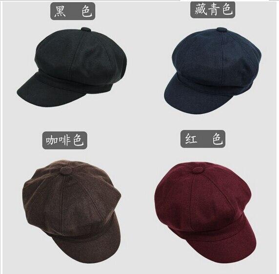 Pria dan Wanita Busana Unisex Topi Segi Delapan Warna Solid Merasa tukang  koran Topi Pelukis Baret 0bb6ae3cac