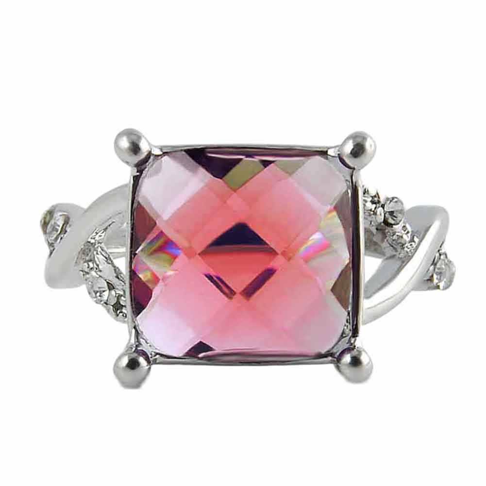 2018 кольца для женщин обручение большой площади красный/фиолетовый кристалл камень циркон кольцо Свадебные