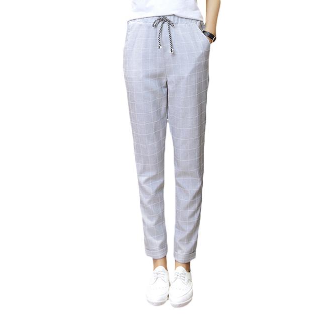 2017 Pantalones de Verano para Las Mujeres de Algodón A Cuadros Lino Tobillo-longitud Ocasional Haren Pantalones Pantalones de Cintura de Las Mujeres Elásticos Pantalon Femme