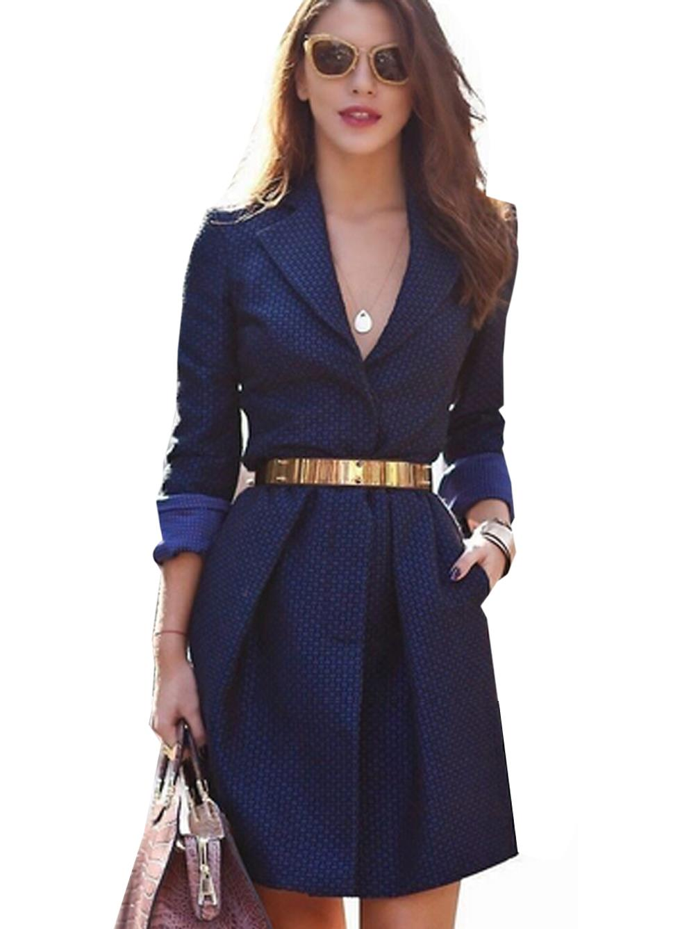 Women V Neck Sexy Elegant Dress Navy Blue Office OL Split ...