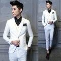 2016 Mens Blazer Ternos De Casamento Da Marca Roupas Noivo Mais Recentes Modelos Casaco Calça Homens Jaqueta 3 Pcs Terno Branco Blazer Negócio D013