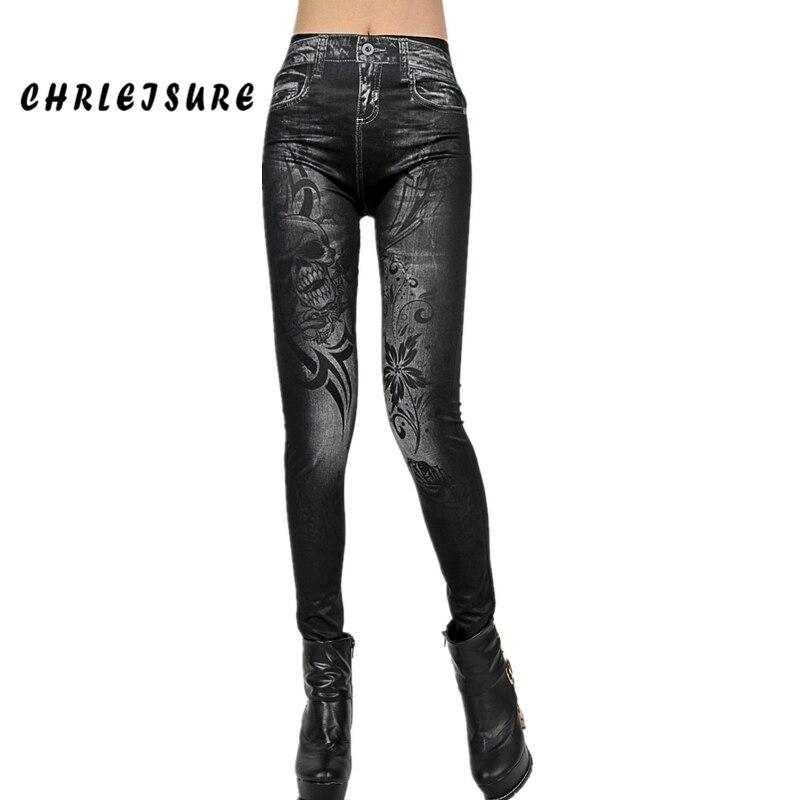 CHRLEISURE mujer flores impresión Jean Floral Leggings Denim moda azul negro sin costuras Denim Sexy elástico Jeans Leggings