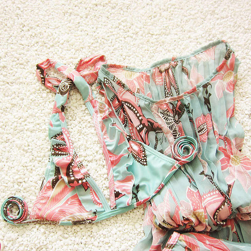 Hot Girls Floral Cetak 3 Piece Swimsuit Lucu 3 Pcs/set Bikini Set Cover-Up Sesuai dengan Jenis Rok Halter Anak anak-anak Swimwear Beachwear