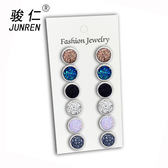 NEW 6 Pair/pack Multicolor Crystal Rhinestone Stud Earrings Brincos Piercing Cute Round Earring For Women Bijoux Jewelry 12mm