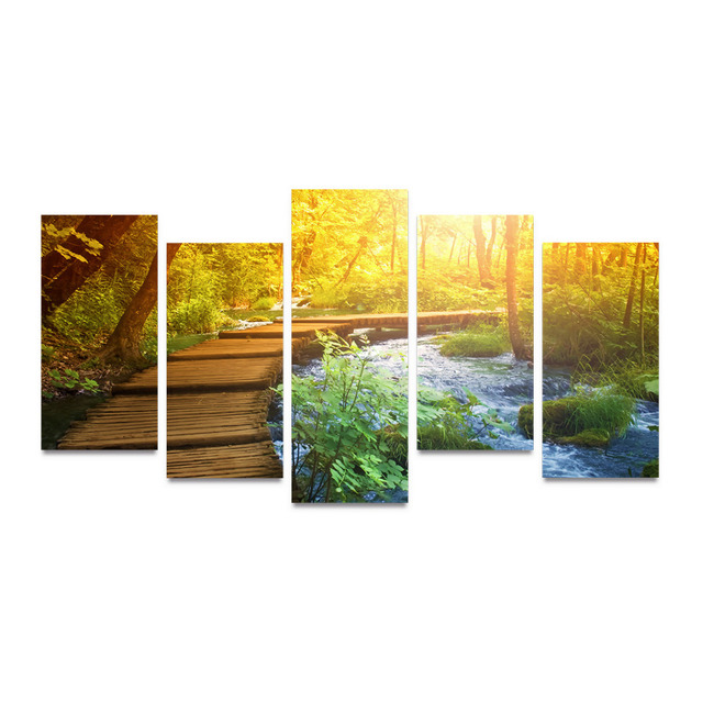 5 Panels Canvas Print Wood Bridge And Little River Painting On ...
