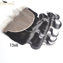 Lace Frontal Body Wave 13x6 Ear by ear Pre plucked Brazilian Front Closure Natural Black human hair Remy Ross Pretty Brand