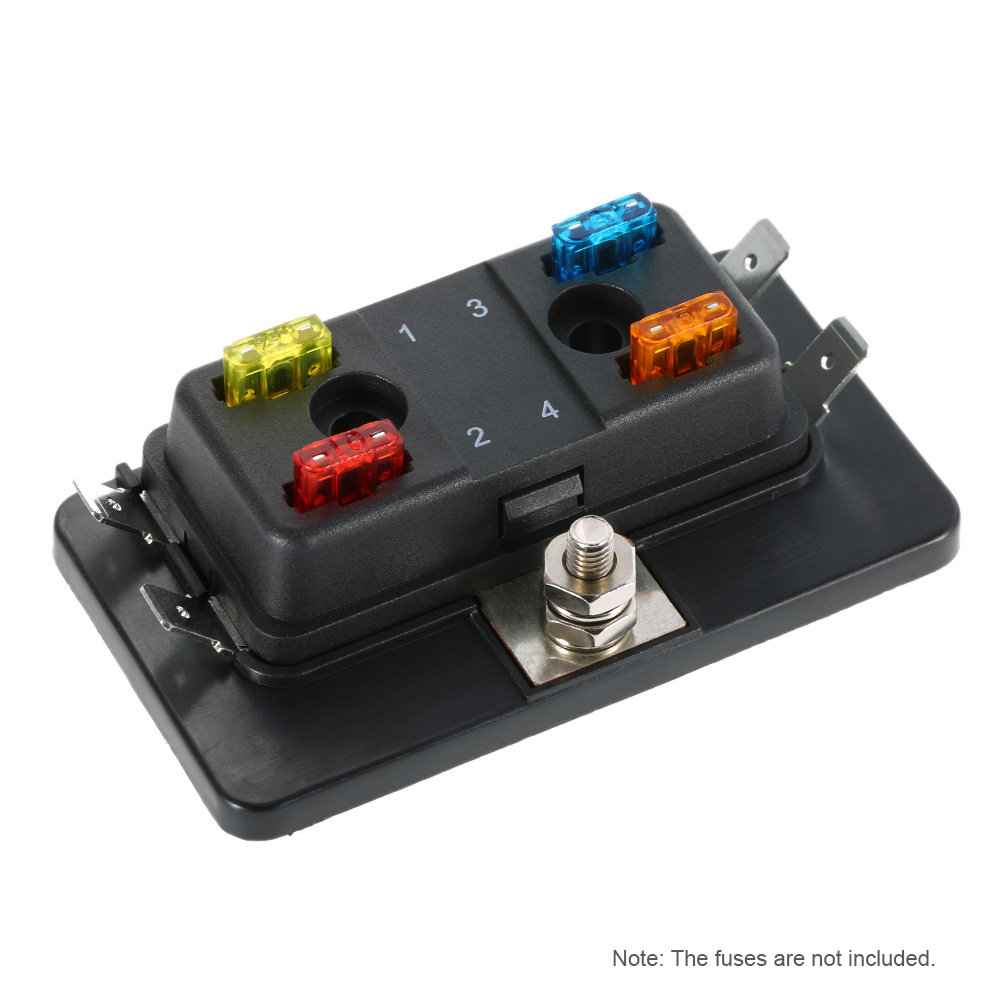 4 Way Mini Blade Fuse Box Holder Apm Atm 5a 10a 25a For Car Boat Marine Trike 12v 24v