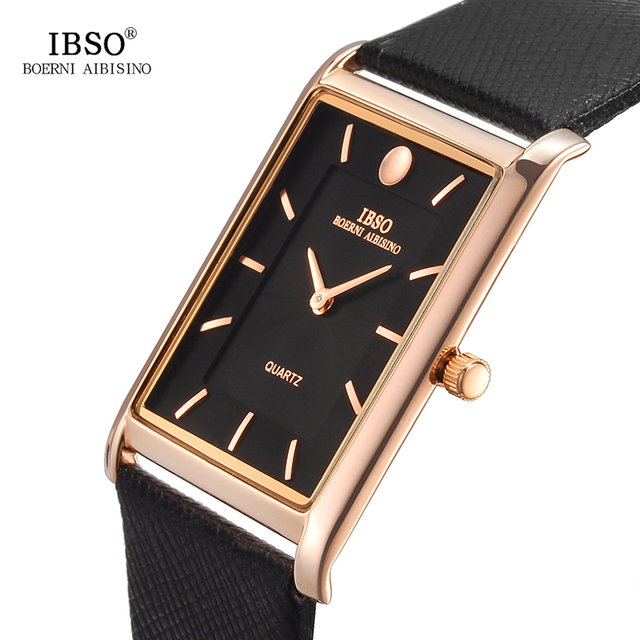 IBSO 7MM Ultra-thin Rectangle Dial Quartz Wristwatch Black Genuine Leather Strap
