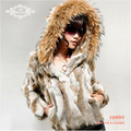 CD095 2014 Fashion Hot Sale Short Genuine Rabbit Fur Jacket Women's Long Sleeve With Hood Keep Warm In Cold Winter