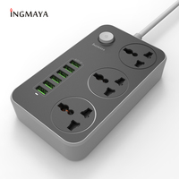 INGMAYA 6 Port USB Charger 3.4A 3 Outlet Power Strip 2500W Surge Protect For iPhone Samsung Huawei Nexus Mp3 AC Cord Adapter