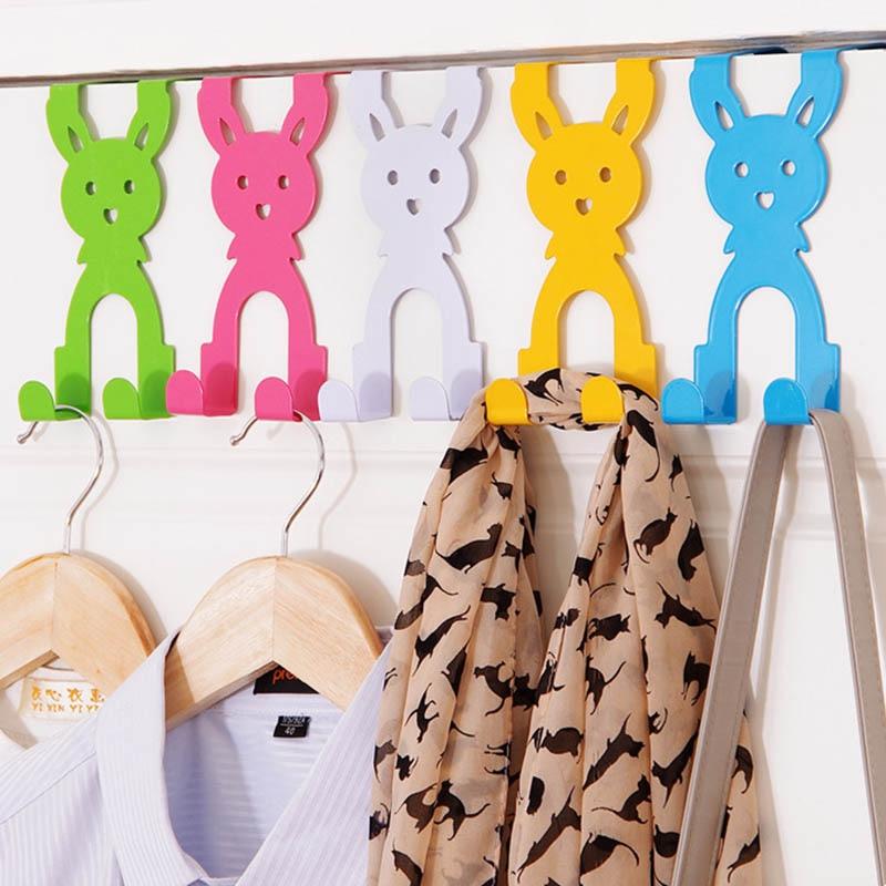 1PC Stainless Steel Door Hook Multifunction Clothes Bag Organizer Traceless Hat Coat Holder Cartoon Door Hanger  14.5*7cm